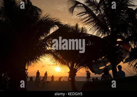 Sunset on Karon Beach, Phuket Island, Thailand - Stock Photo