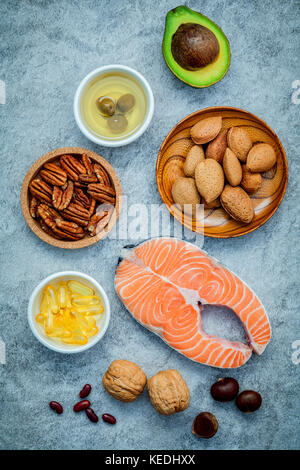 Selection food sources of omega 3 and unsaturated fats. Super food high omega 3 and unsaturated fats for healthy - Stock Photo