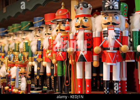 Colorful nutcrackers at a traditional Christmas market in Salzburg, Austria. - Stock Photo