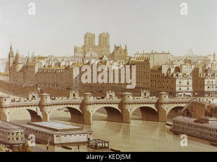 France. Paris. The New Bridge (Pont Neuf) on the river Seine, built between 1578-1607. Engraving, 1840. - Stock Photo