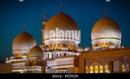 The imposing Sheikh Zayed Grand Mosque in Abu Dhabi at night - Stock Photo