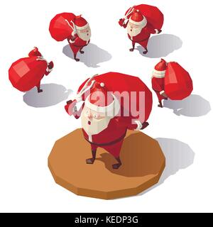 Santa Claus with red gift bag - Stock Photo