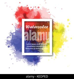 Abstract Red yellow and blue watercolor background with white square border for illustrator graphic vector design - Stock Photo