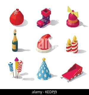 Low poly Christmas accessories - Stock Photo