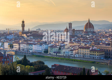 Florence city skyline with sunset in Tuscany, Italy. - Stock Photo