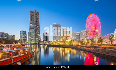 Yokohama, Japan city skyline Minato Mirai at night. - Stock Photo