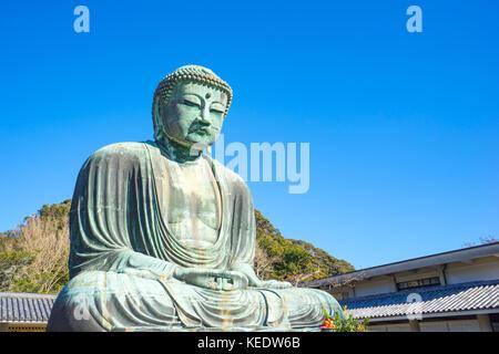 Daibutsu the great buddha at kotokuin temple in Kamakura, Kanagawa Prefecture, Japan. - Stock Photo