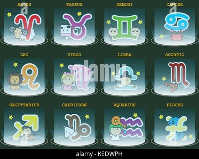 Big colorful horoscope astrology zodiac sign symbol with character and sportlight in graphic design icon vector - Stock Photo