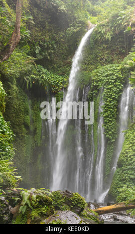 Tiu Kelep Waterfall in the near of the Volcano Rinjani, Lombok, Indonesia - Stock Photo