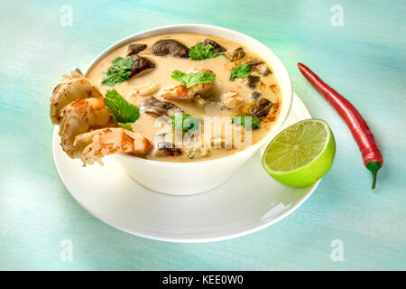 Tom Yam, traditional Thai soup with shrimps and mushrooms - Stock Photo