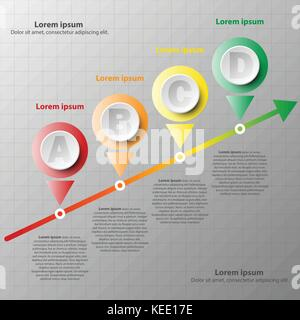 Coloful paper circle with mile stone on colorful arrow for website presentation cover poster vector design infographic - Stock Photo