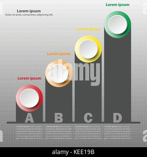 Coloful paper 3d circle with black bar graph on axis for website presentation cover poster vector design infographic - Stock Photo