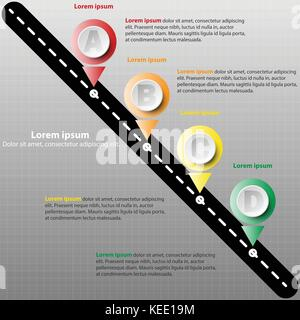 Coloful paper circle mile stone on the road for website presentation cover poster vector design infographic illustration - Stock Photo