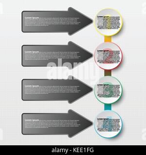 Coloful paper circle with arrow for website presentation cover poster vector design infographic illustration concept - Stock Photo