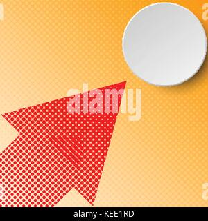 3d grey circle with red halftone arrow on orange background for business graphic background concept - Stock Photo