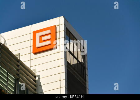 PRAGUE, CZECH REPUBLIC - OCTOBER 14: CEZ group company logo on headquarters building on October 14, 2017 in Prague, - Stock Photo