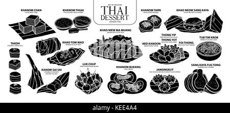 Set of isolated silhouette Thai dessert in 14 menu. Cute hand drawn food vector illustration in white outline and - Stock Photo