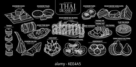 Set of isolated Thai dessert in 14 menu. Cute hand drawn food vector illustration in white outline on black background. - Stock Photo