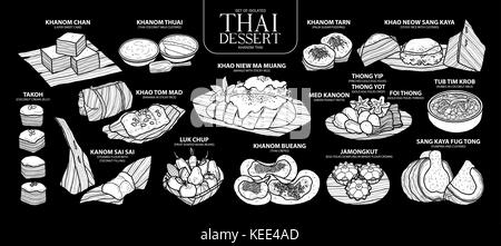 Set of isolated white silhouette Thai dessert in 14 menu. Cute hand drawn food vector illustration in white plane - Stock Photo