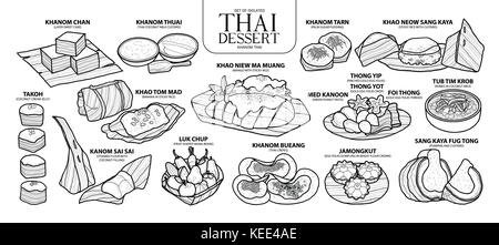 Set of isolated Thai dessert in 14 menu. Cute hand drawn food vector illustration in black outline and white plane - Stock Photo
