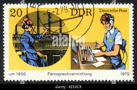 A postage stamp printed in DDR shows  telephony, from series Postal History of Germany, circa 1979 - Stock Photo