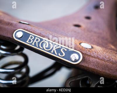 Brooks Leather Saddle - Traditional British Made Brooks Leather Bicycle / Bike Saddle - Stock Photo
