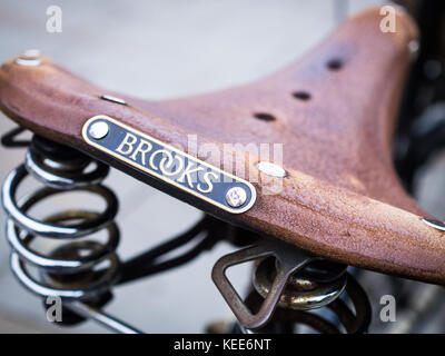Brooks Leather Saddle - Traditional British Made Brooks Leather Bicycle / Bike Saddle - Stock Photo
