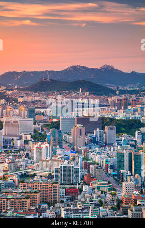 Seoul. Cityscape image of Seoul downtown during summer sunset. - Stock Photo