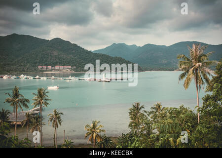 Beautiful landscape with a Bang Bao bay view on Koh Chang island in Thailand. Vintage color filter applied - Stock Photo