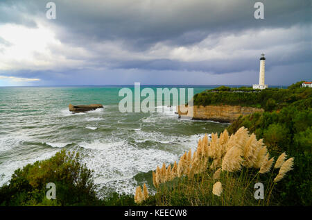 Biarritz lighthouse under a gathering storm beside the Grande Plage