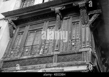 AHMEDABAD, INDIA - NOVEMBER 27, 2016: A traditional house or 'Haveli' decorated with wooden carving in the old town - Stock Photo