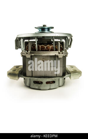 Electric motor isolated on the white background - Stock Photo