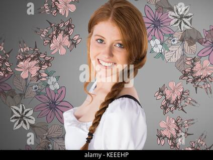 Digital composite of Beautiful young woman against grey background with braided hair and rustic flowers illustrations - Stock Photo