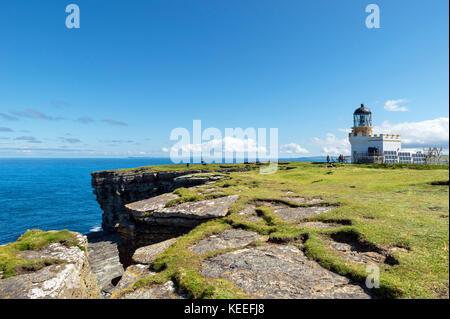Lighthouse on the Brough of Birsay, Mainland, Orkney, Scotland, UK - Stock Photo