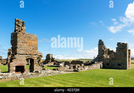 Ruins of the Earl's Palace, a 16th century castle in Birsay, Mainland, Orkney, Scotland, UK - Stock Photo
