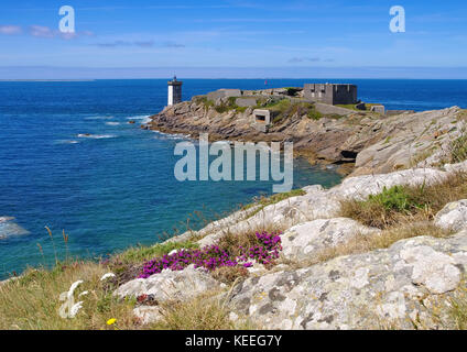 Kermorvan lighthouse in Brittany, France - Stock Photo