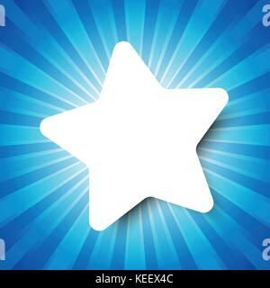 White Star template on Blue abstract background with start burst concept - Stock Photo