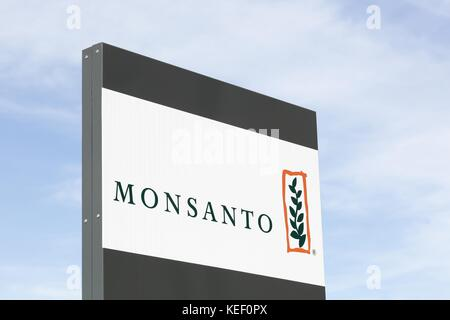 Saint Priest, France - October 7, 2017: Monsanto logo on a panel. Monsanto company is a publicly traded American - Stock Photo