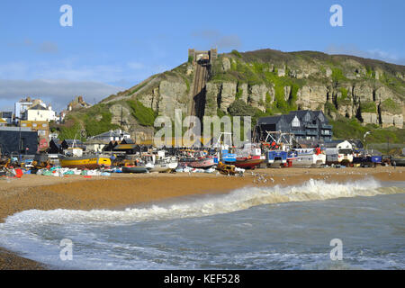 Hastings, East Sussex, 20th October 2017. Hastings fishing boats pulled up high on the Stade Fishermen's beach, - Stock Photo
