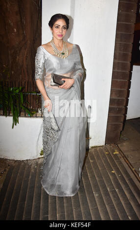 Mumbai, India. 19th Oct, 2017. Indian film actress Sridevi attend the Aamir Khan's Diwali party at his recidency - Stock Photo