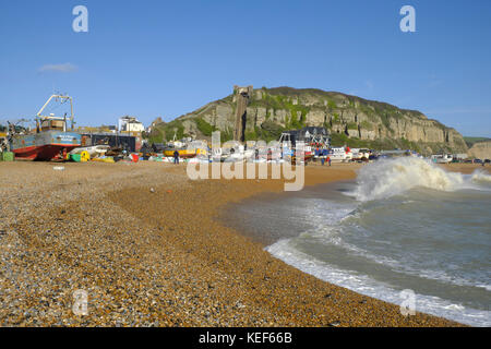 Hastings, East Sussex, 20th October 2017. UK Weather. Hastings fishing boats pulled up high on the Stade Fishermen's - Stock Photo