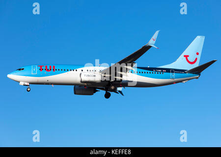 TUI Boeing 737-8K5 [G-TAWB] arriving from the UK, used to be in Thomson colors. - Stock Photo
