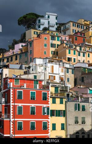 Charming architecture in the village of Riomaggiore, Cinque Terre,  Liguria, Italy. - Stock Photo