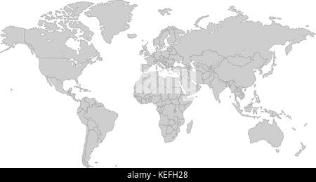 Grey political map of europe political europe map vector stock grey world map with all country borders in dark grey color stock photo sciox Gallery