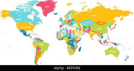 Colorful Hi detailed Vector world map complete with all countries names - Stock Photo