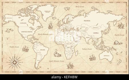 Antique vintage world map and wind rose and symbols of moon and great detail illustration of the world map in vintage style with all countries boundaries and names gumiabroncs Gallery