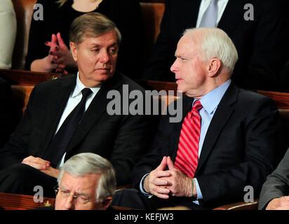 United States Senators Lindsay Graham (Republican of South Carolina), left, and John McCain (Republican of Arizona), - Stock Photo
