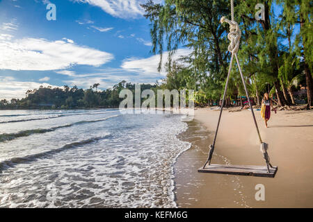 Thailand, Trat Province, Koh Chang Island in the Gulf of Thailand, beach swing Ao Klong Phrao Beach - Stock Photo