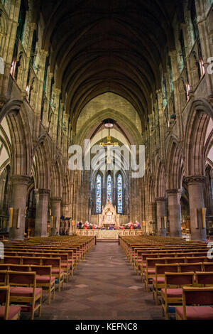View of Saint Mary's Episcopal Cathedral Church indoors, Edinburgh, Scotland. Main nave - Stock Photo