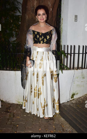 Mumbai, India. 19th Oct, 2017. Indian film actress Dia Mirza attend the Aamir Khan's Diwali party at his recidency - Stock Photo